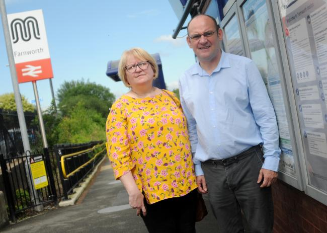 Maureen Flitcroft and Paul Heslop at Farnworth Train Station.