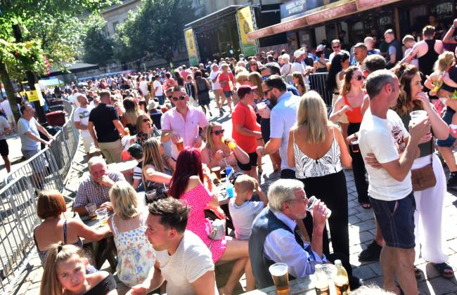 CANCELLED: Large crowds enjoying the sun at Bolton Food and Drink festival 2019.