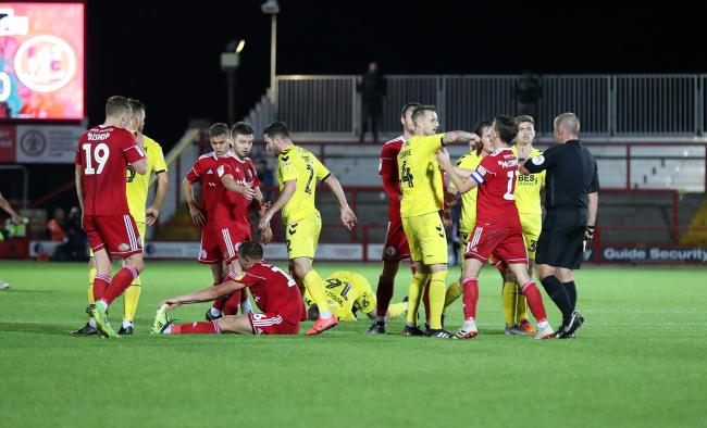 Tempers flared in Stanley's Leasing.com Trophy win over Fleetwood Town. PIC: KIPAX