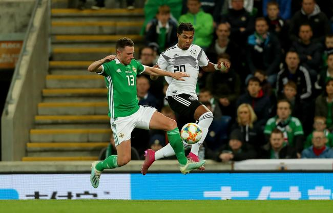 Corry Evans played 90 minutes for Northern Ireland against Germany on Monday night