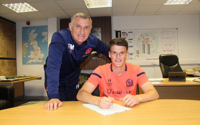 Jack Vale with Rovers boss Tony Mowbray. Picture: Blackburn Rovers