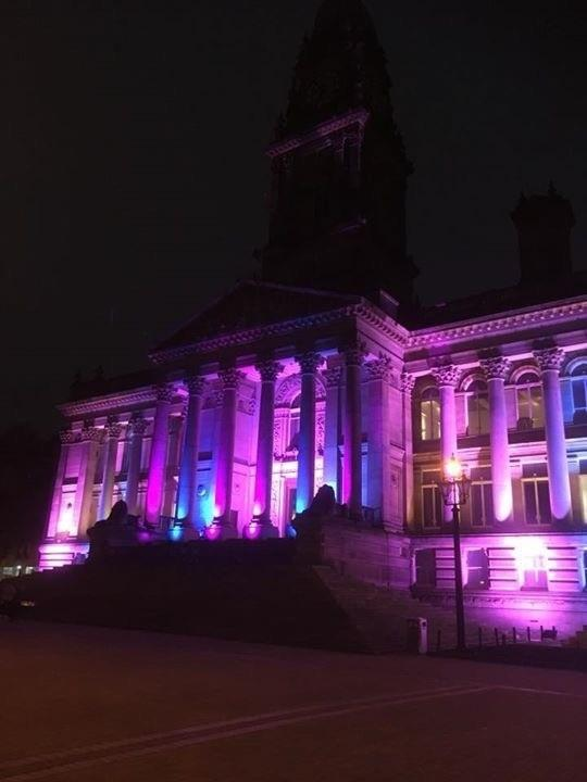 AWARENESS: Bolton Town Hall lit up pink and blue last year
