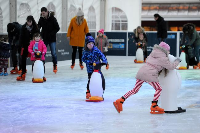 SKATE: Youngsters enjoy the huge temporary ice rink in Victoria Square during last year's Winter Festival