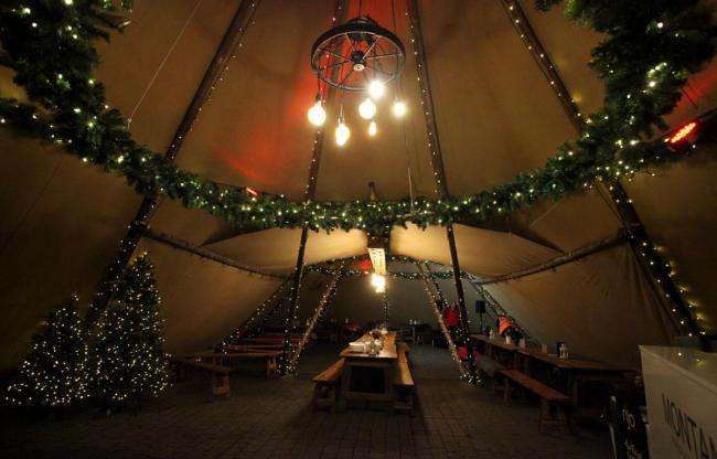 Inside the teepee at Bolton's Winter Wonderland festival 2019