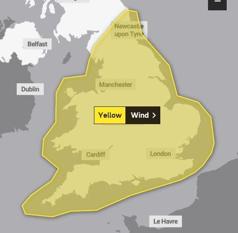 Yellow warning for strong winds across England