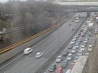 Traffic after a crash on the M60