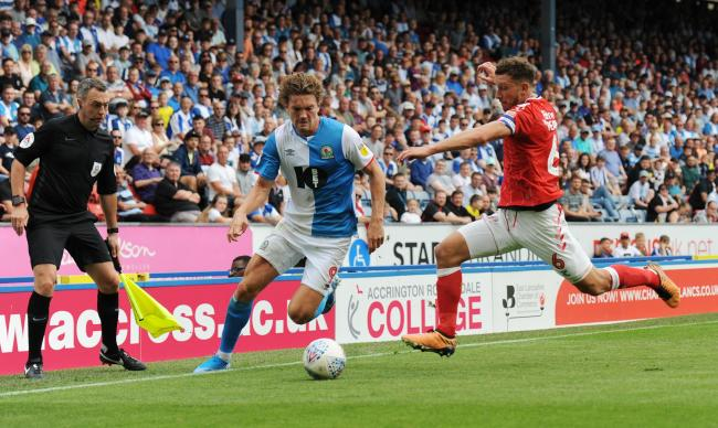 Sam Gallagher and Jason Pearce in action at Ewood Park earlier in the season