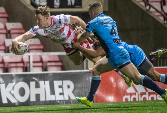 Adam Higson try for Leigh Centurions against Batley Bulldogs. Picture: Richard Walker