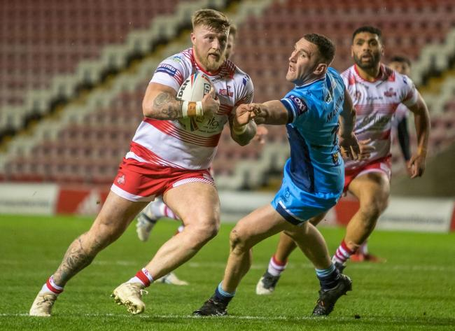 Leigh Centurions skipper Danny Addy heads to the try line against Batley earlier this year. Picture: Richard Walker