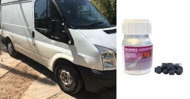 The white Ford Transit van, registration ND59 VBE, as well as a picture of the poison Talunex.