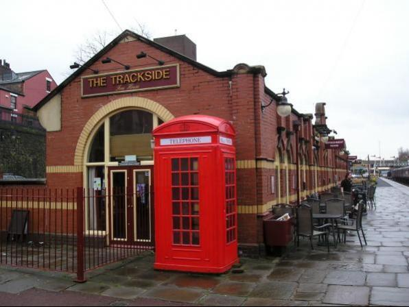 The Trackside pub at Bury Bolton Street station