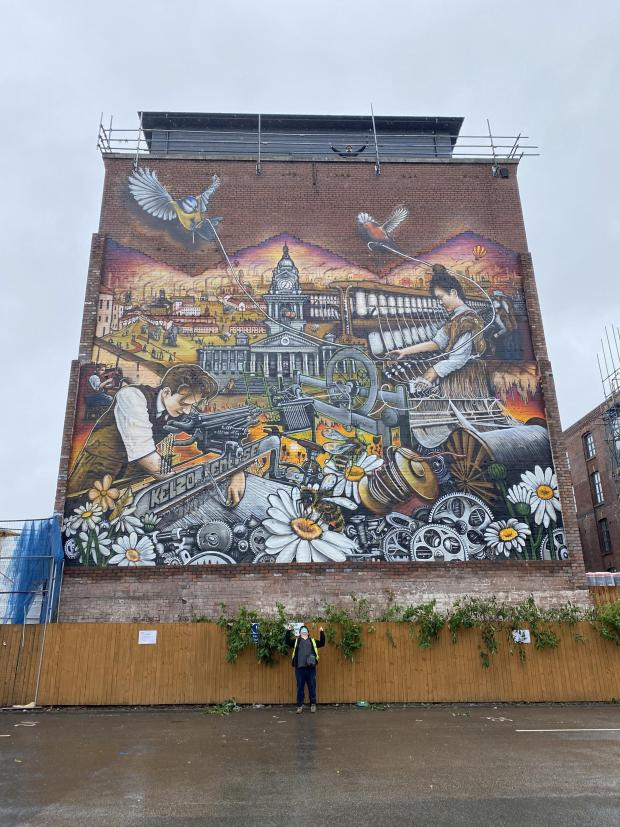 This Is Lancashire: Tony Brady (bottom) and Evan Barlow (top) with their finished mural