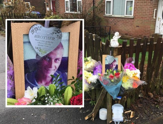 Joss McCaughtrie and tributes left at Tennyson Avenue in Farnworth following his death