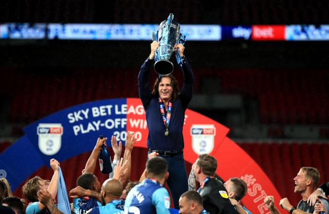 Gareth Ainsworth celebrates Wycombe's promotion