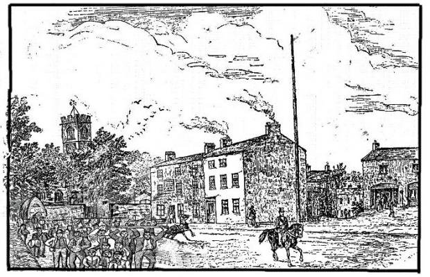 This Is Lancashire: A 19th century image of the Church Inn and Church Lane, Prestwich
