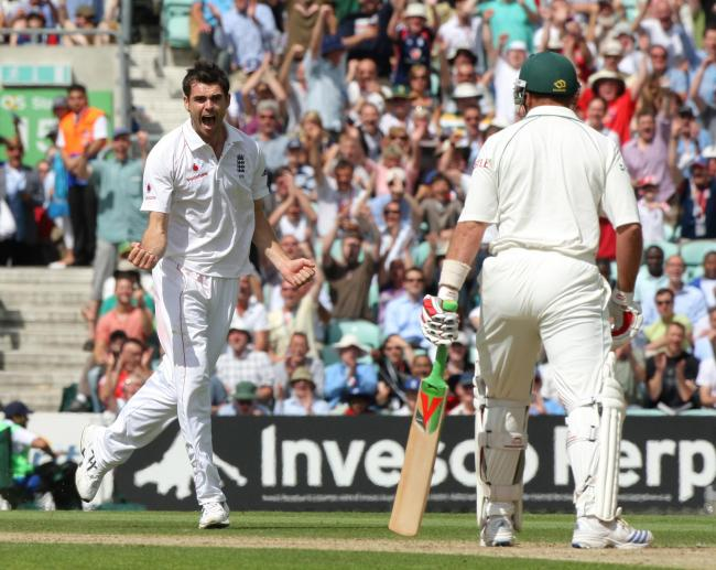 James Anderson celebrates his 100th wicket back in 2008