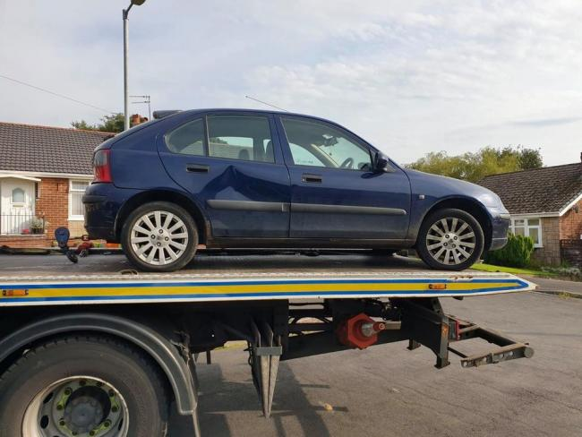 SEIZED: The car that was taken away after being spotted by police on Burnmoor Road in Breightmet