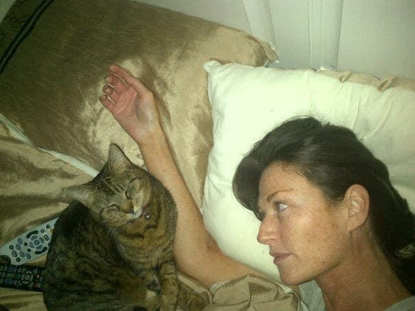 Helen Abrahams and her beloved cat Gizmo