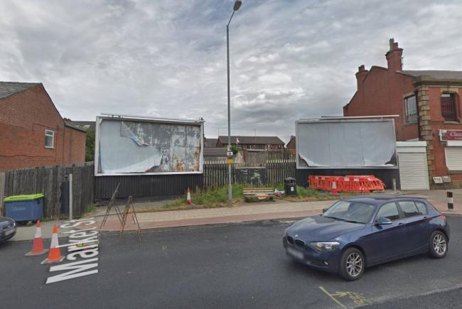 The location of plans submitted for a three storey apartment block in Market Street, Farnworth