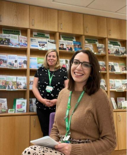 left to right: Sue Summerfield (Macmillan Cancer Information & Support Service Manager) and Stephanie Hul (Macmillan Cancer Information & Support Service Assistant).