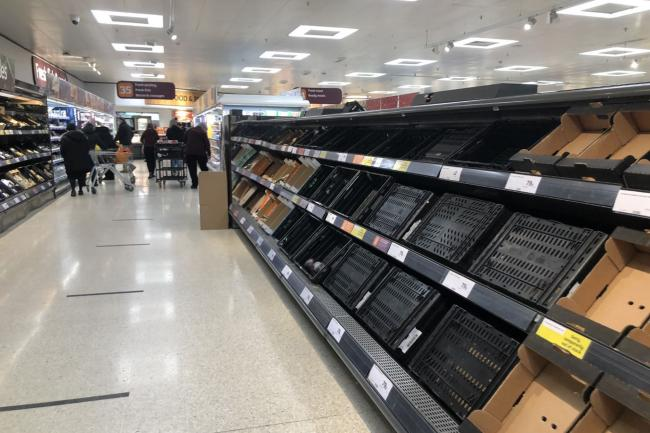 Depleted supermarket shelves