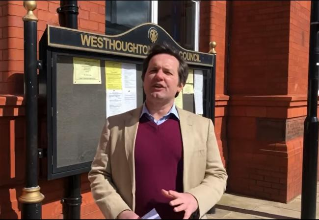 Chris Green, MP for Bolton West and Atherton, stood outside Westhoughton Town Hall