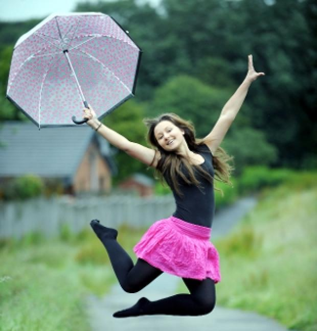 BROLLY GOOD   Paige Szatkowski  celebrates being selected to join a top dance school