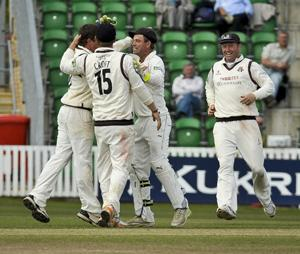 GOT HIM Lancashire celebrate after Tom Smith catches out Somerset captain Alfonso Thomas