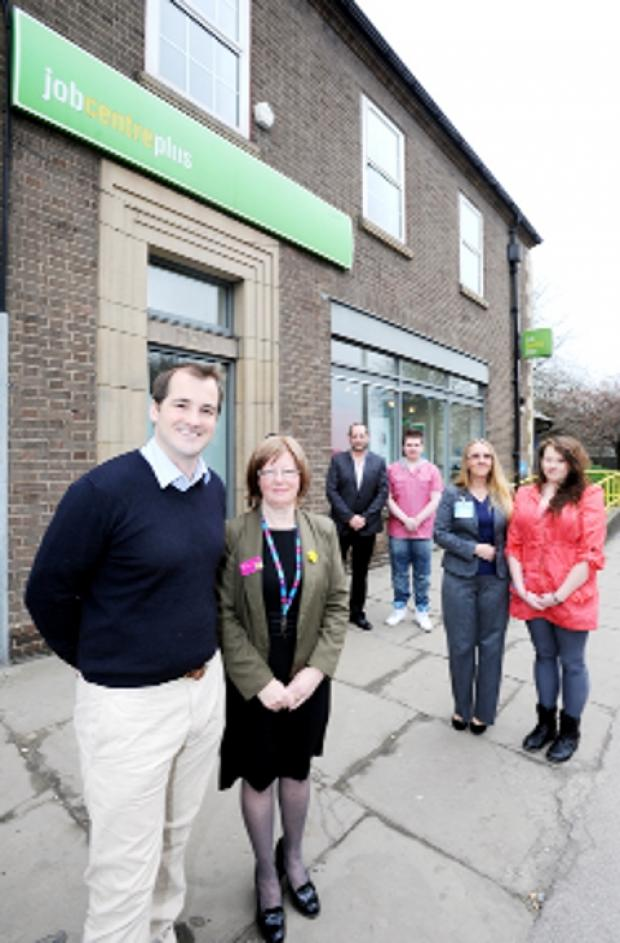 AT THE LAUNCH MP Jake Berry and Job Centre manager Linda Peel with Adam Hulme, Stephen Brine, Tracey Ashworth and Laura Winter