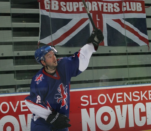 SCORER: Colin Shields celebrates the first of his two goals for GB against Austria