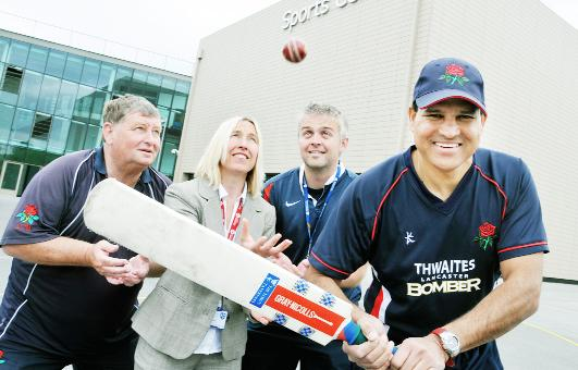 David Readdy (left), support officer at Lancashire Cricket Board; Hilary Lunn, Darwen Academy's director of sport; Paul Earnshaw, director of DACA Cricket Academy; and Rudra Singh, cricket development manager for Lancashire Cricket Board, launch the new