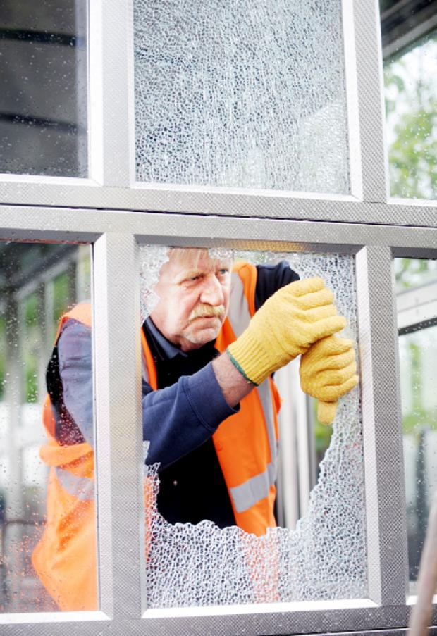 Windows were smashed at Darwen's newly improved railway station