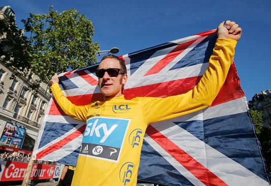 Wiggins celebrates his Tour de France win