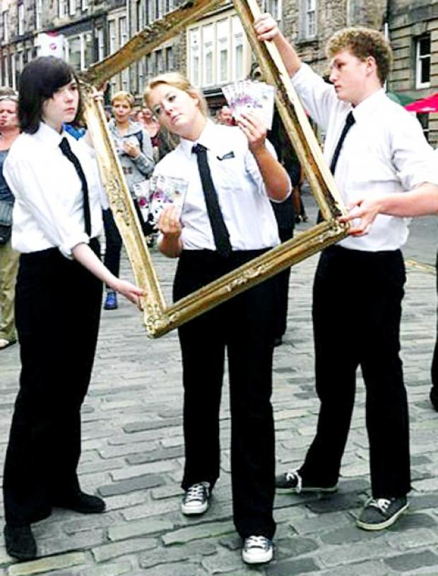 Members of Burnley Youth Theatre on the Royal Mile