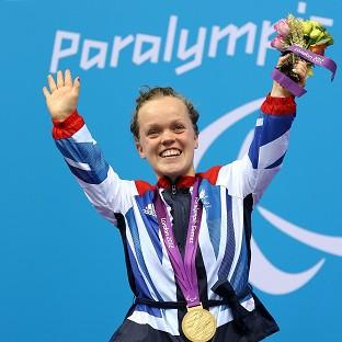 Great Britain's Eleanor Simmonds celebrates with her Gold medal for the Women's 400m Freestyle - S6 Final