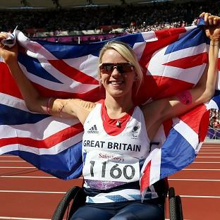 Great Britain's Josie Pearson celebrates winning a gold medal in the women's discus
