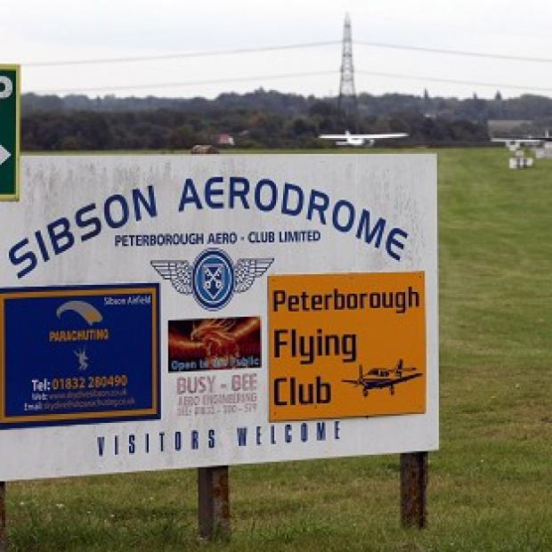 The entrance to Sibson Aerodrome, near Peterborough, Cambridgeshire