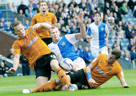 Jordan Rhodes challenges Christophe Berra and Richard Stearman on Saturday