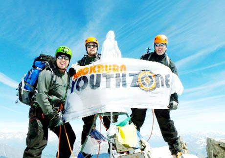 MOUNTAIN CHALLENGE Steve Turnock at the summit of Mont Blanc with sons Ben and Sam