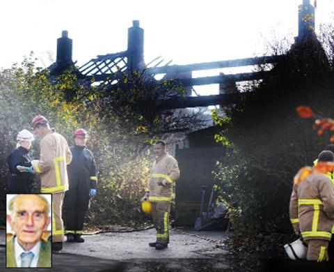 Firefighters at the scene and (inset) Christopher Proctor