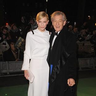 Cate Blanchett and Sir Ian McKellen arriving for the UK premiere of The Hobbit: An Unexpected Journey