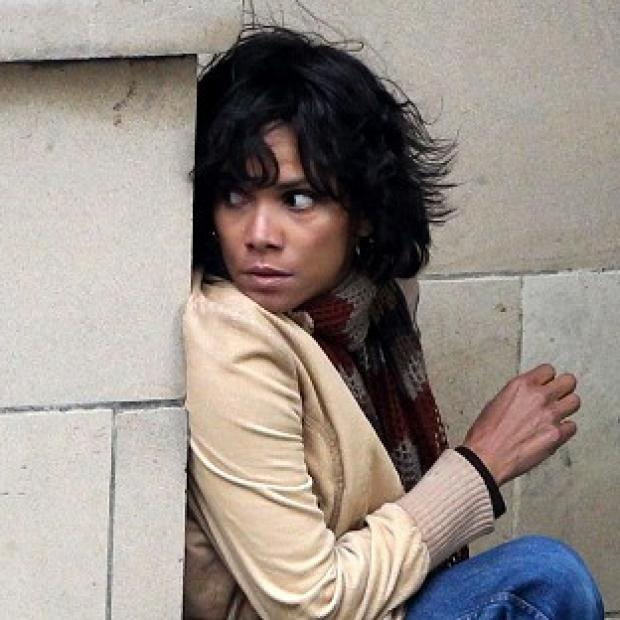 Halle Berry on the set of Cloud Atlas in Glasgow