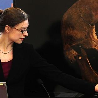 Lecturer Jo Appleby, who led the exhumation of the remains, speaking at Leicester University after tests established that a skeleton is that of King Richard III