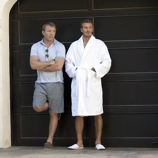 David Beckham and director Guy Ritchie on the set of the latest ad campaign for his bodywear collection