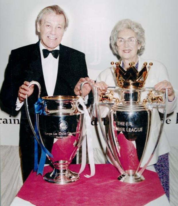 Connie Brown with husband Joe during the Manchester United days