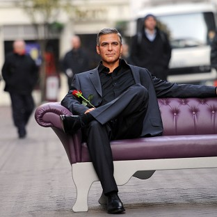 The Madame Tussauds' waxwork of actor George Clooney toook a trip out to London's Carnaby Street