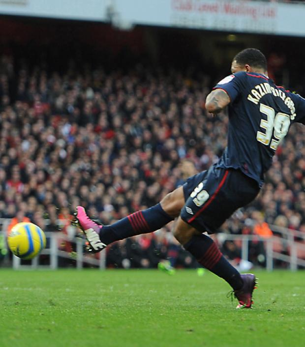 Colin Kazim-Richards scores the winning goal. Photo: PA
