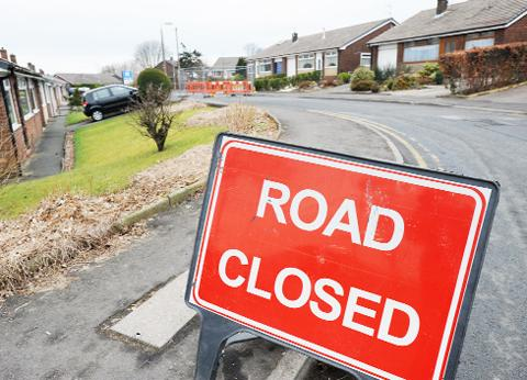 The road closure in St John's Avenue, Darwen