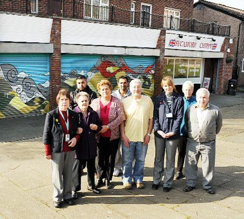 Residents and traders from Anglesey Avenue in Burnley