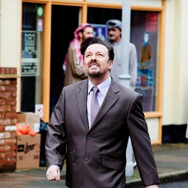 Ricky Gervais starring as David Brent in a sketch for Comic Relief to be transmitted on Red Nose Day